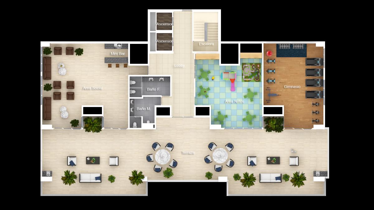 2 de 3: planta área sociales