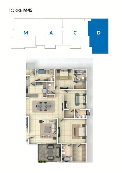 7 de 23: Plano apartamento tipo D