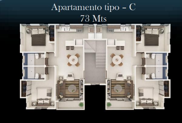 2 de 13: Apartamento Tipo C 72 MT2