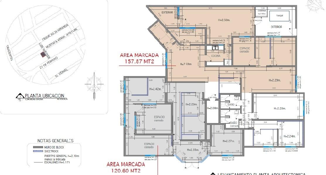 3 de 3: Plano Arquitectónico de los locales