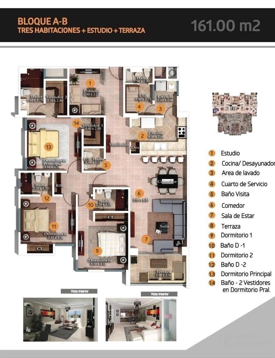 2 de 4: Distribución del apartamento en los Bloques A y B