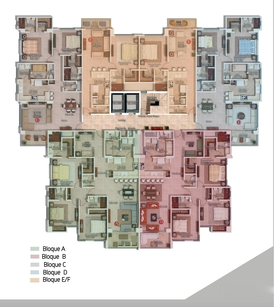 4 de 4: Distribución de los bloques de Apartamentos