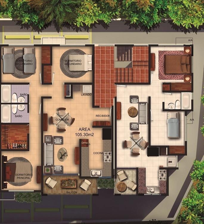 4 de 6: Bloque EF 3 y 2 Habitaciones