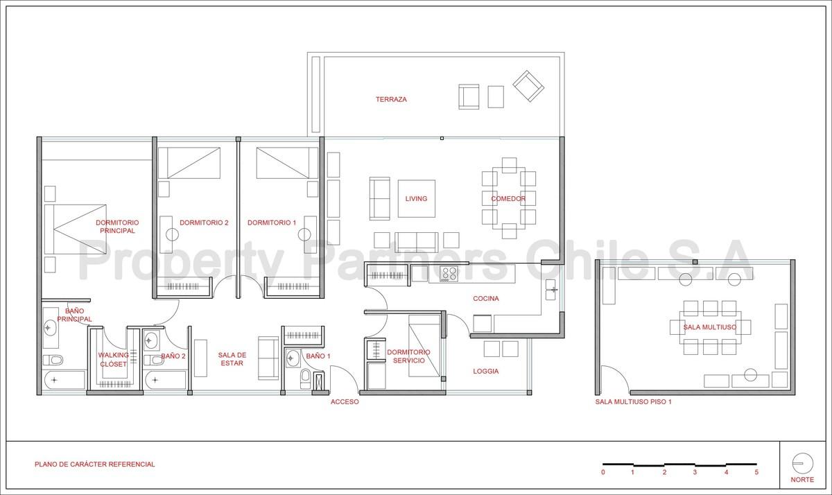 16 de 16: Plano referencial + sala adicional en primer piso