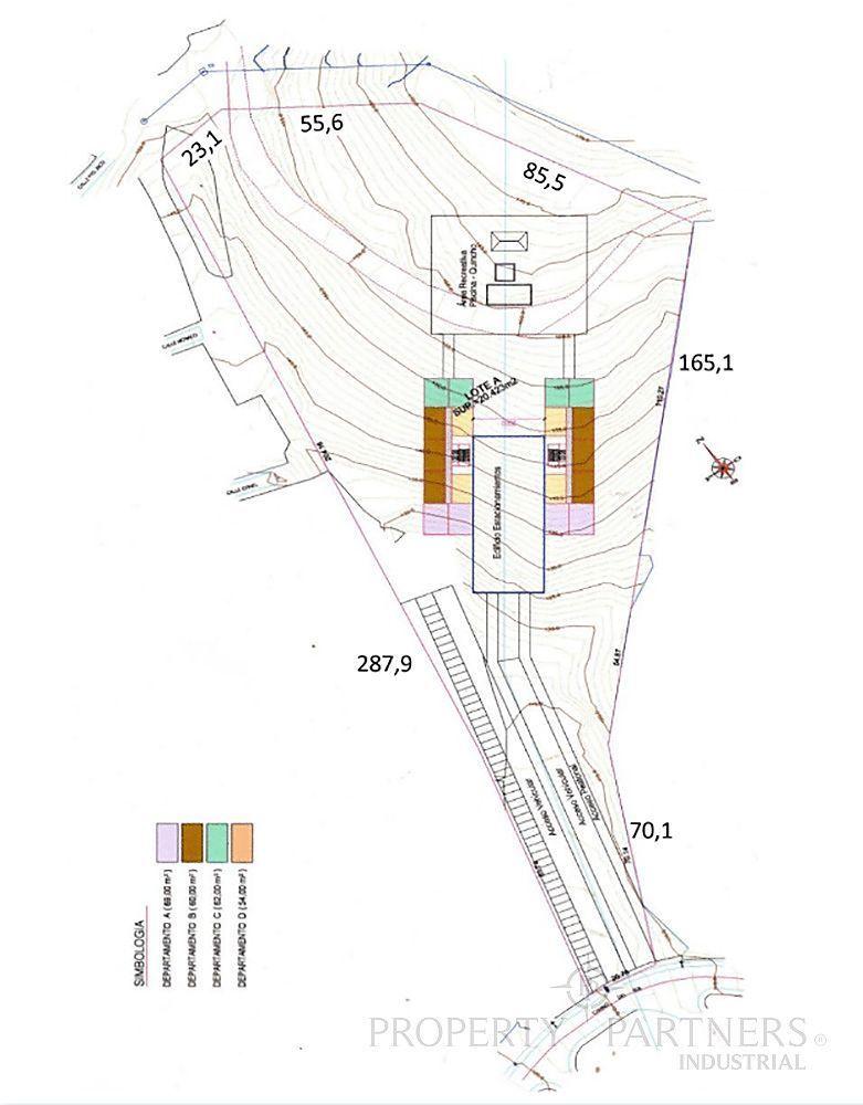 3 de 4: Planta terreno, distribución departamentos de anteproyecto