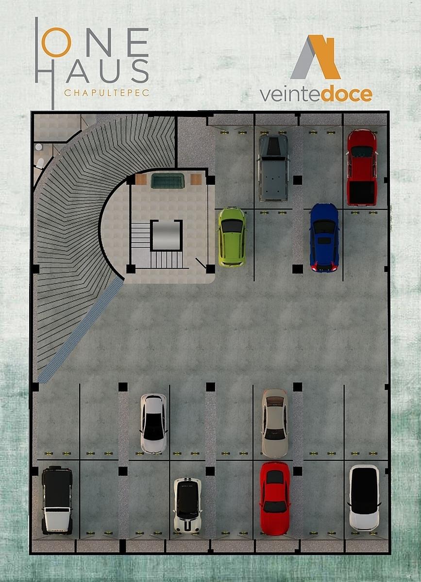 6 de 24: Plano de sótano con las áreas de estacionamiento