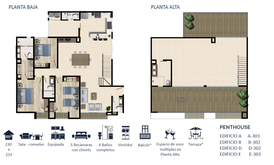 7 de 24: PENTHOUSE TIPO 3 225 a 226 m2