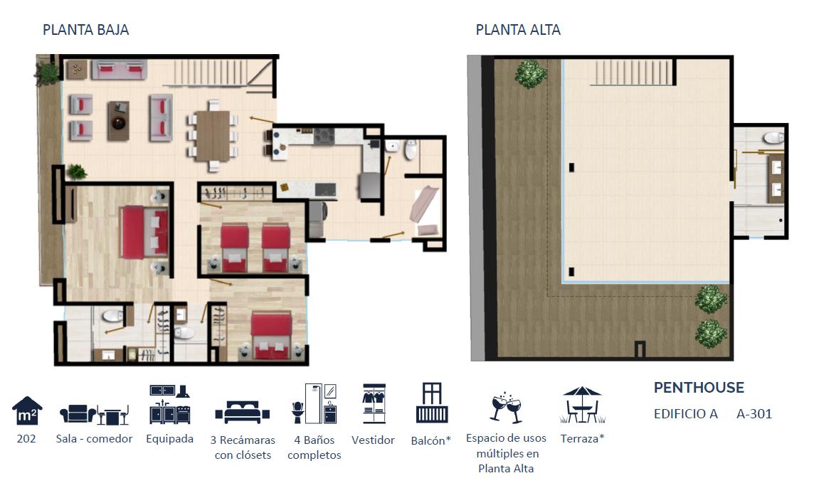 9 de 24: PENTHOUSE TIPO 7 202 m2