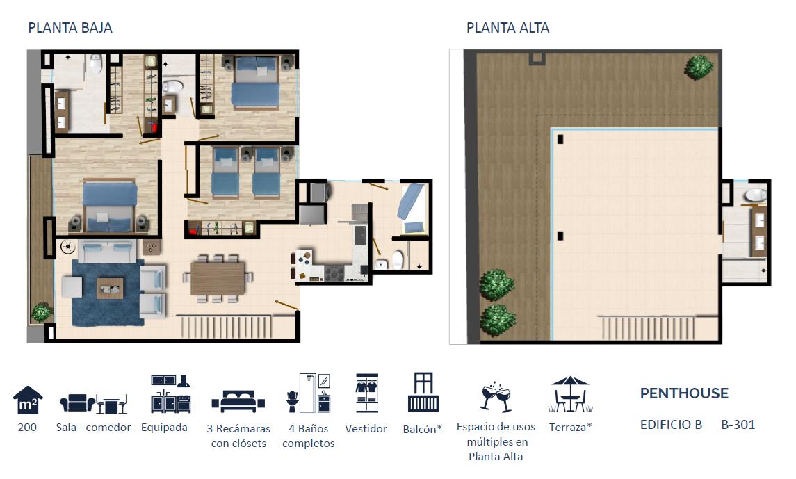 11 de 24: PENTHOUSE TIPO 1 200 m2
