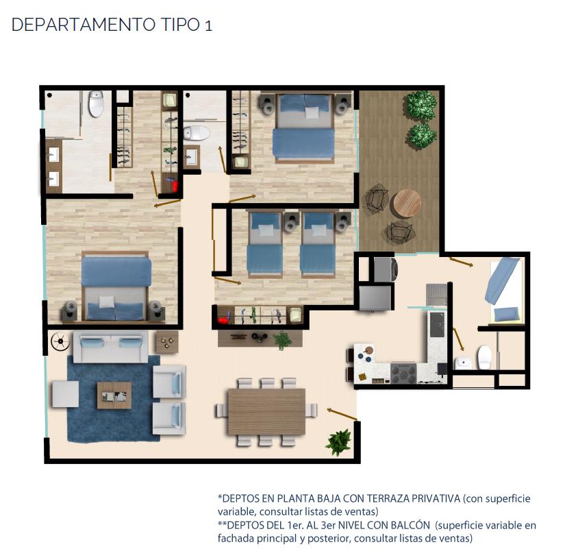 15 de 24: DEPARTAMENTO TIPO 1 135 - 146 m2