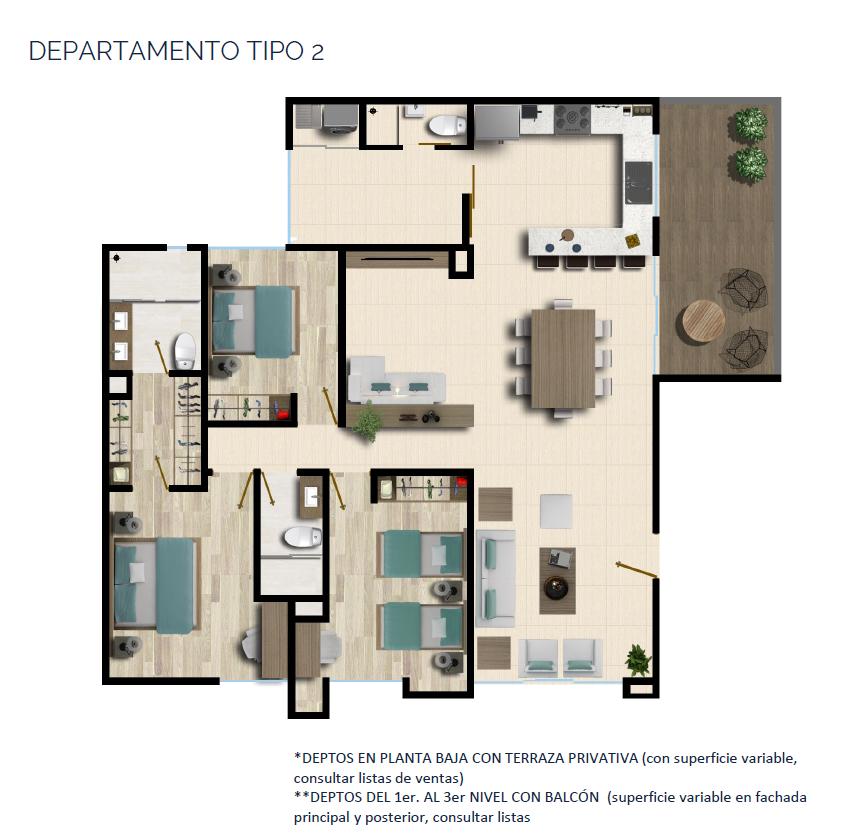 17 de 24: DEPARTAMENTO TIPO 2 143 a 145 m2