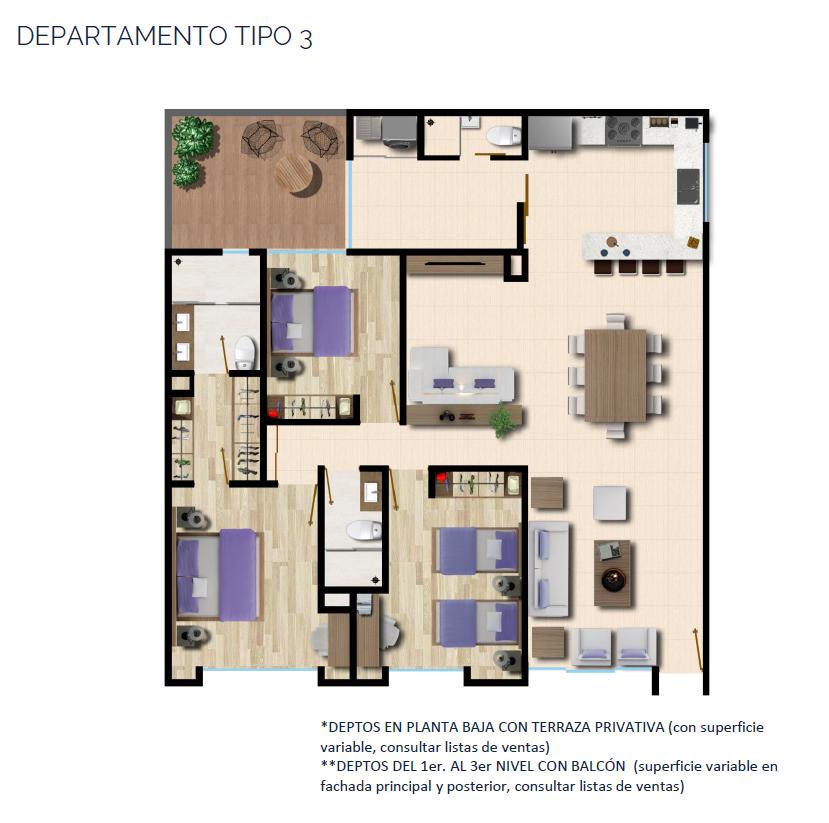 18 de 24: DEPARTAMENTO TIPO 3 143 a 150 m2