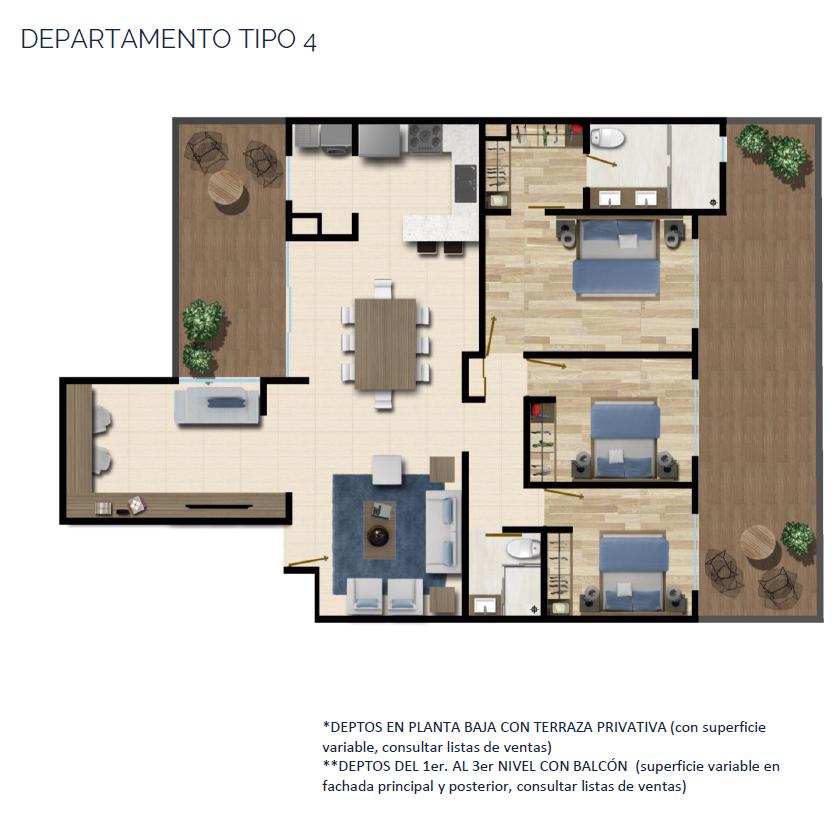 19 de 24: DEPARTAMENTO TIPO 4 131 a 132 m2