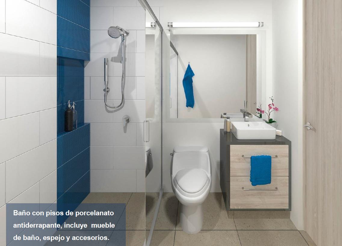 2 de 15: Baño con pisos de porcelanato antiderrapante, incluye mueble