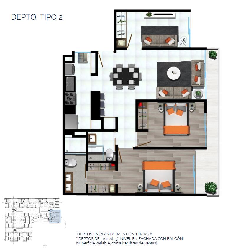 11 de 15: DEPTO. TIPO 2 98 a 102 m2
