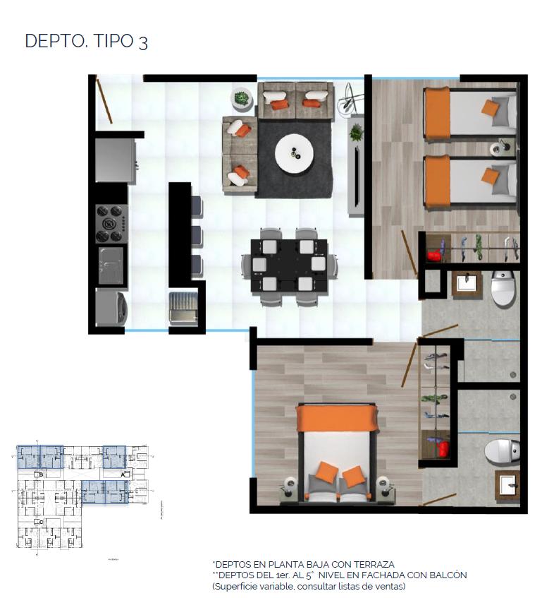 12 de 15: DEPTO. TIPO 3 65 a 67 m2