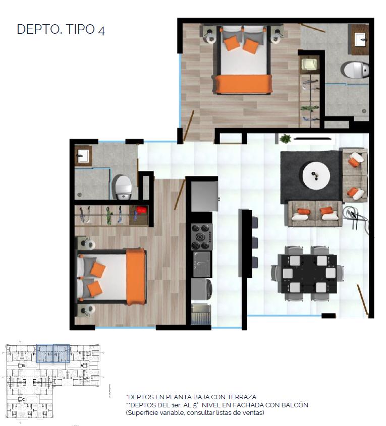 13 de 15: DEPTO. TIPO 4 67 a 69 m2