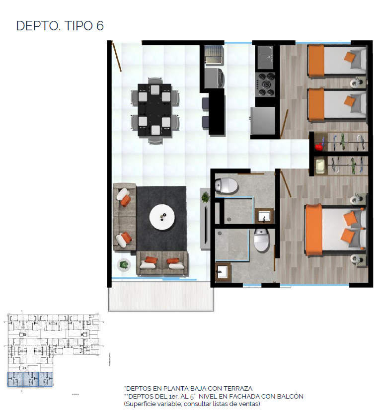15 de 15: DEPTO. TIPO 6 67 a 75 m2