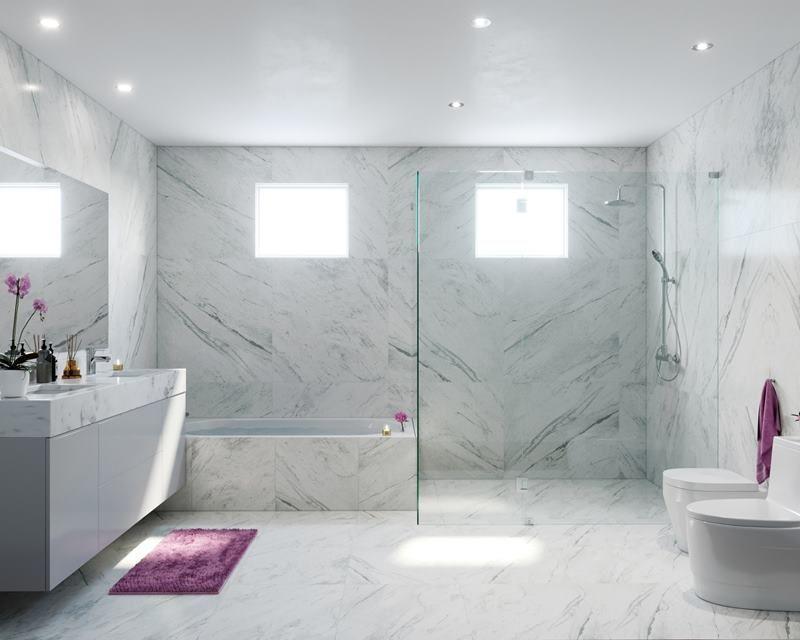 5 de 21: Imagen referencial del baño principal revestido en mármol