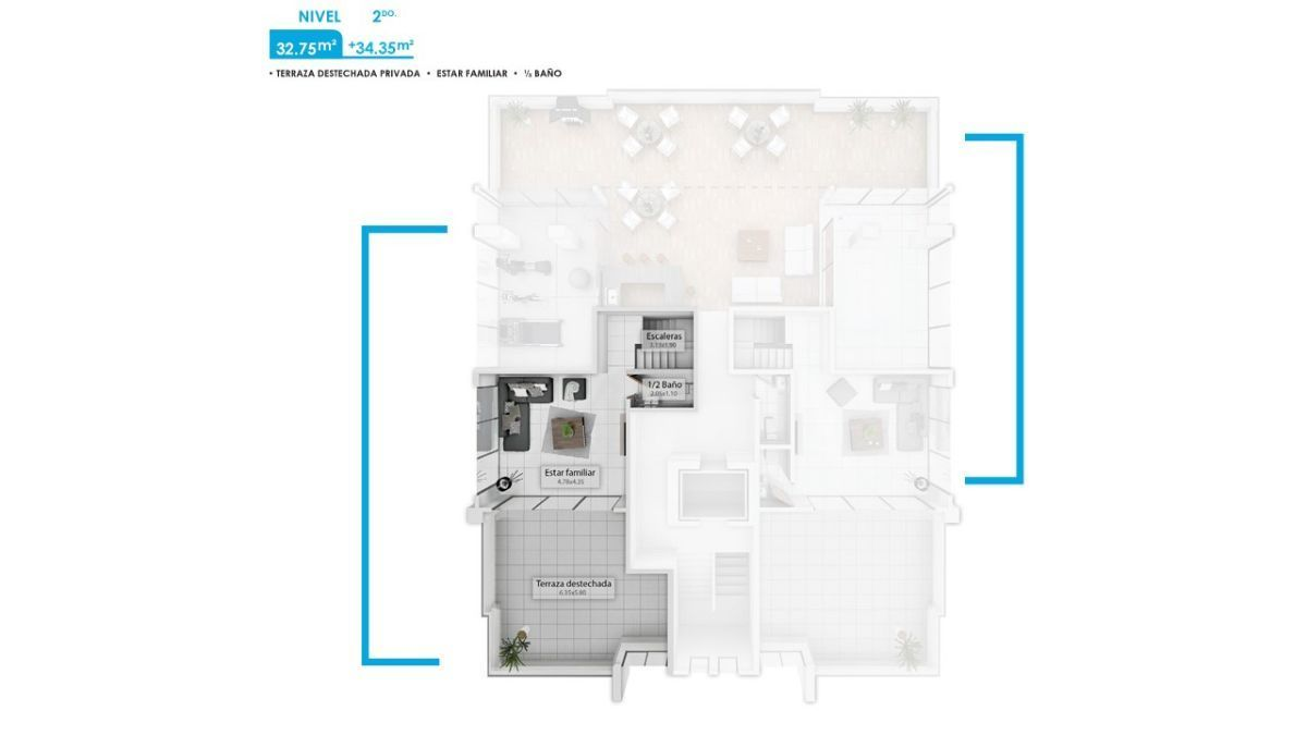 14 de 16: Plano dimensional del Pent House 2do. nivel