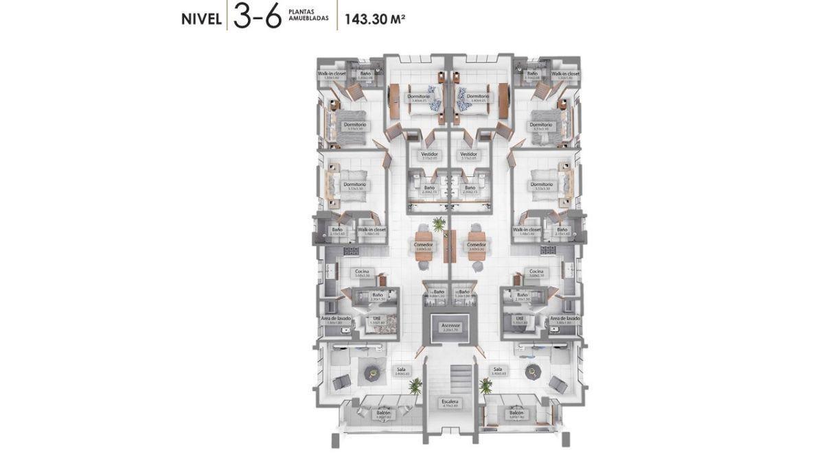 11 de 12: Plano dimensional de los niveles 3 al 6
