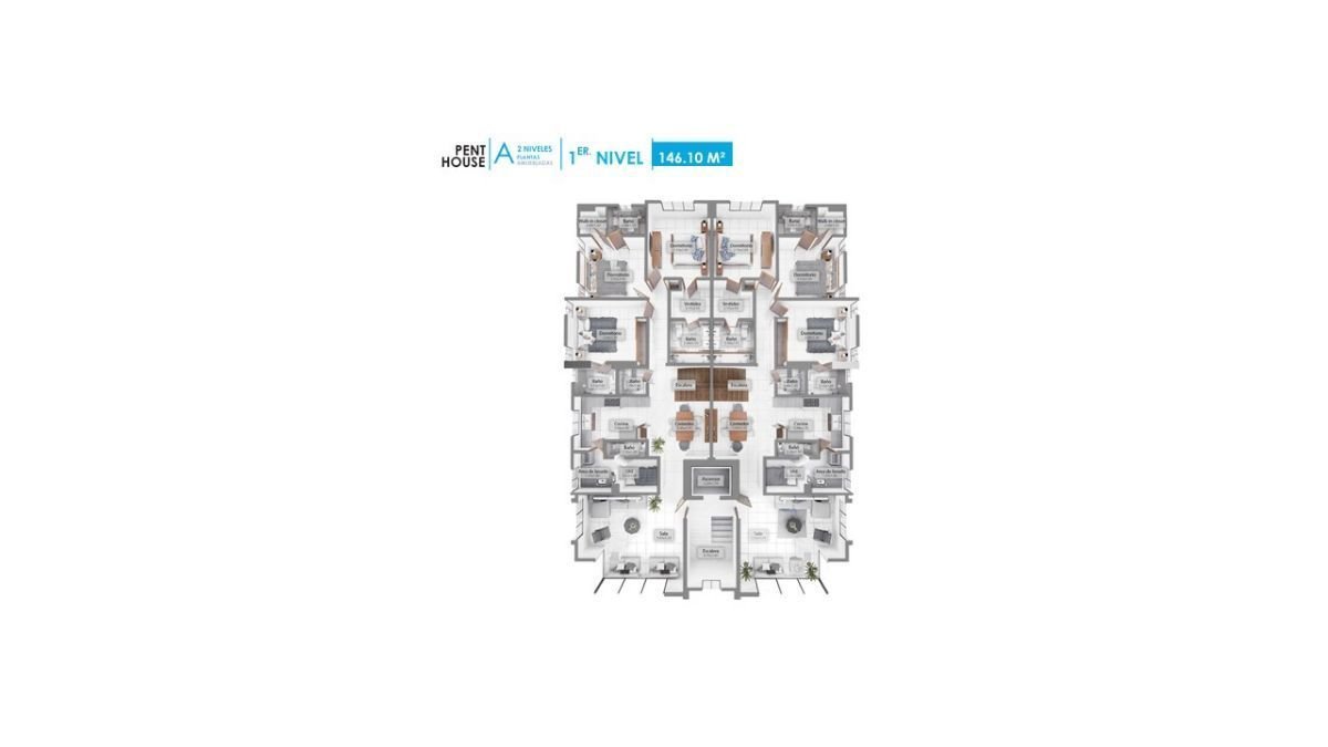 8 de 12: Plano dimensional del Pent House 1er. nivel
