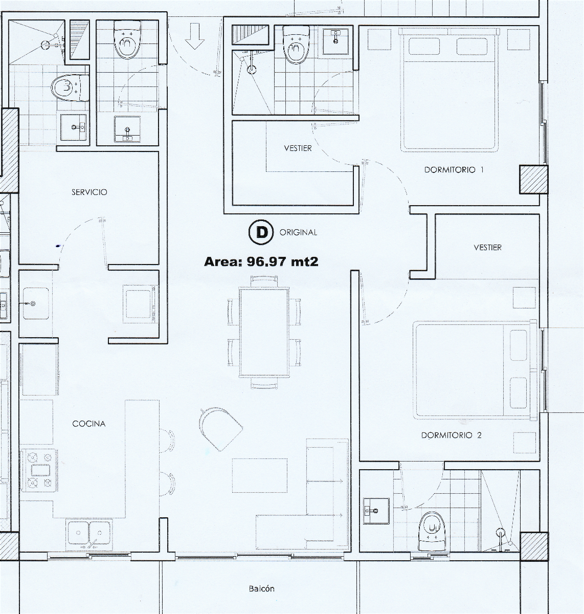 11 de 14: Planta arquitectónica del apartamento.
