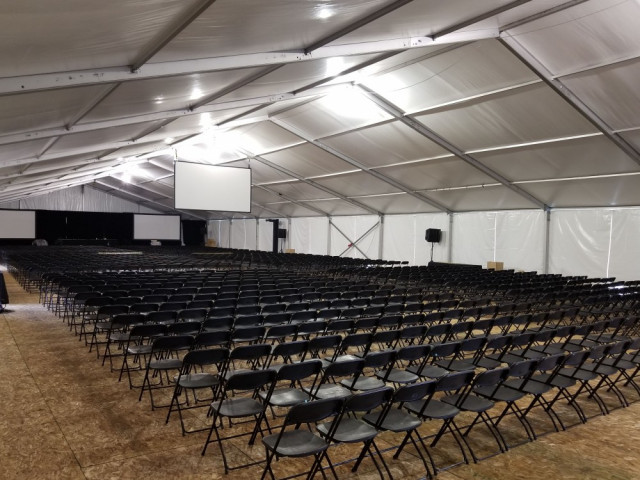 corporate tent rental presentation seating