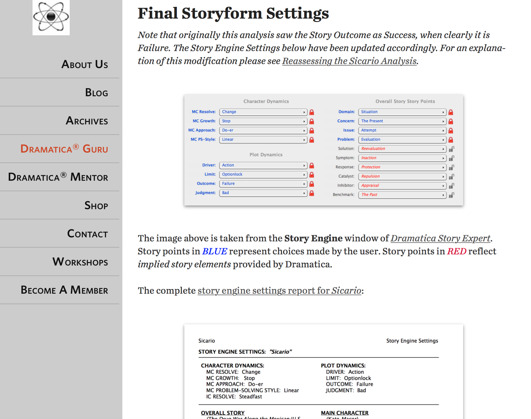 Example of Final Storyform Settings