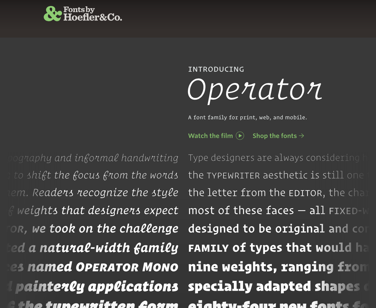 Operator Font by Hoefler & Co.