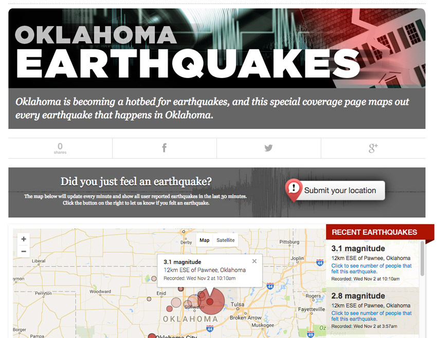 Oklahoma Recent Earthquakes Map