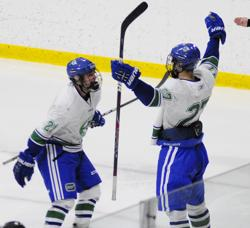 Zach Glienke (27) of Eagan celebrates his second-period goal that cut the Hermantown lead to 5-3.