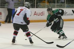 Captain Luke Peddicord (#81) on a move to his goal