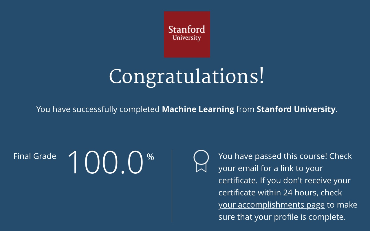Machine learning course certificate