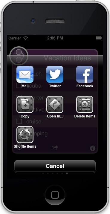 Short List activity menu