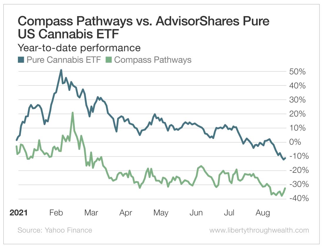 Compass Pathways vs AdvisorShares Pure US Cannabis ETF
