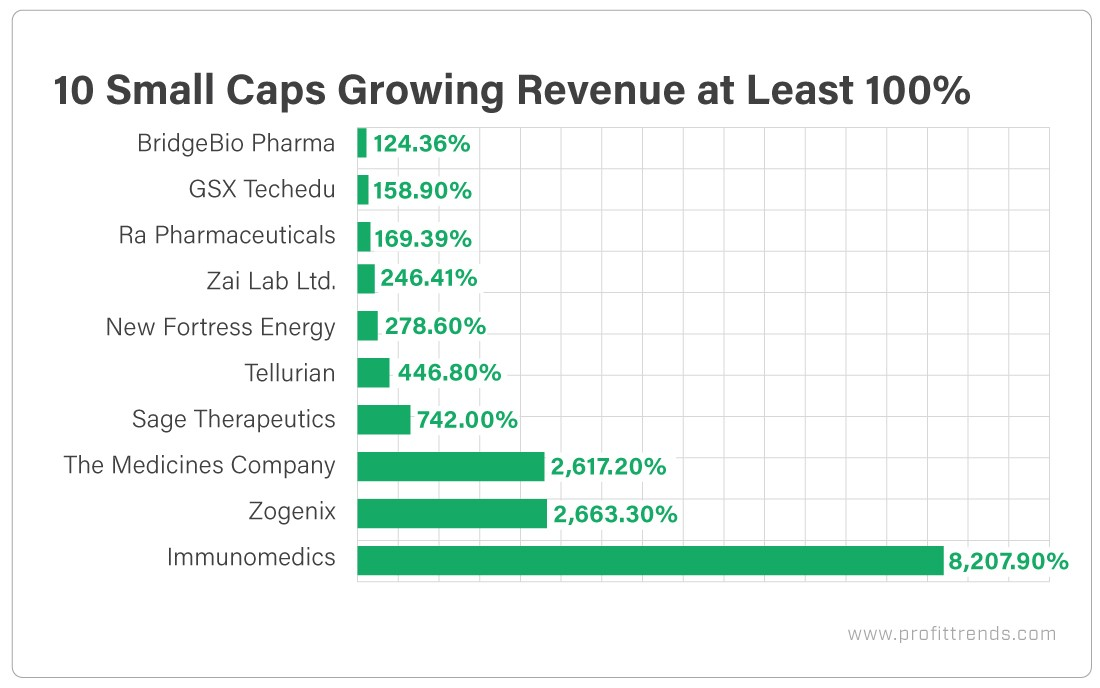10 Small Caps Growing Revenue at Least 100%