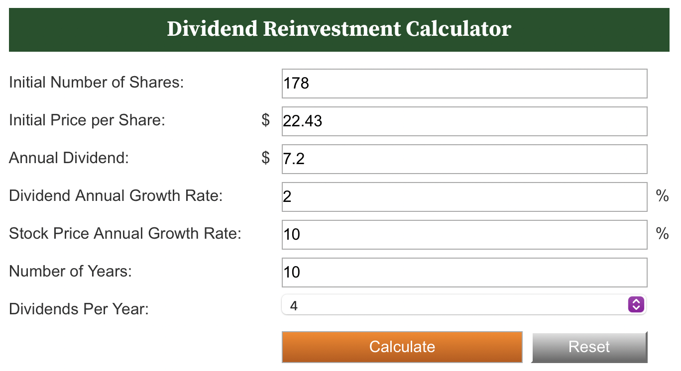 Dividend Reinvestment Calculator