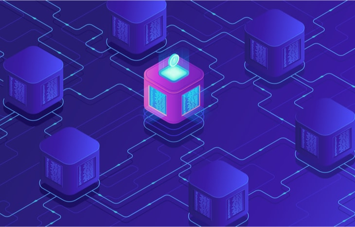 A colorful purple visual representation of blockchain technology