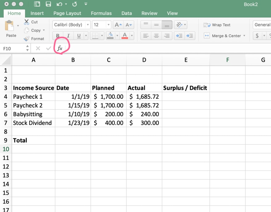 A budget with fake data in Excel with the formula builder circled in red | Investment U