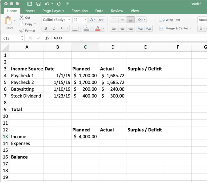 Total rows for income, expenses, and balance