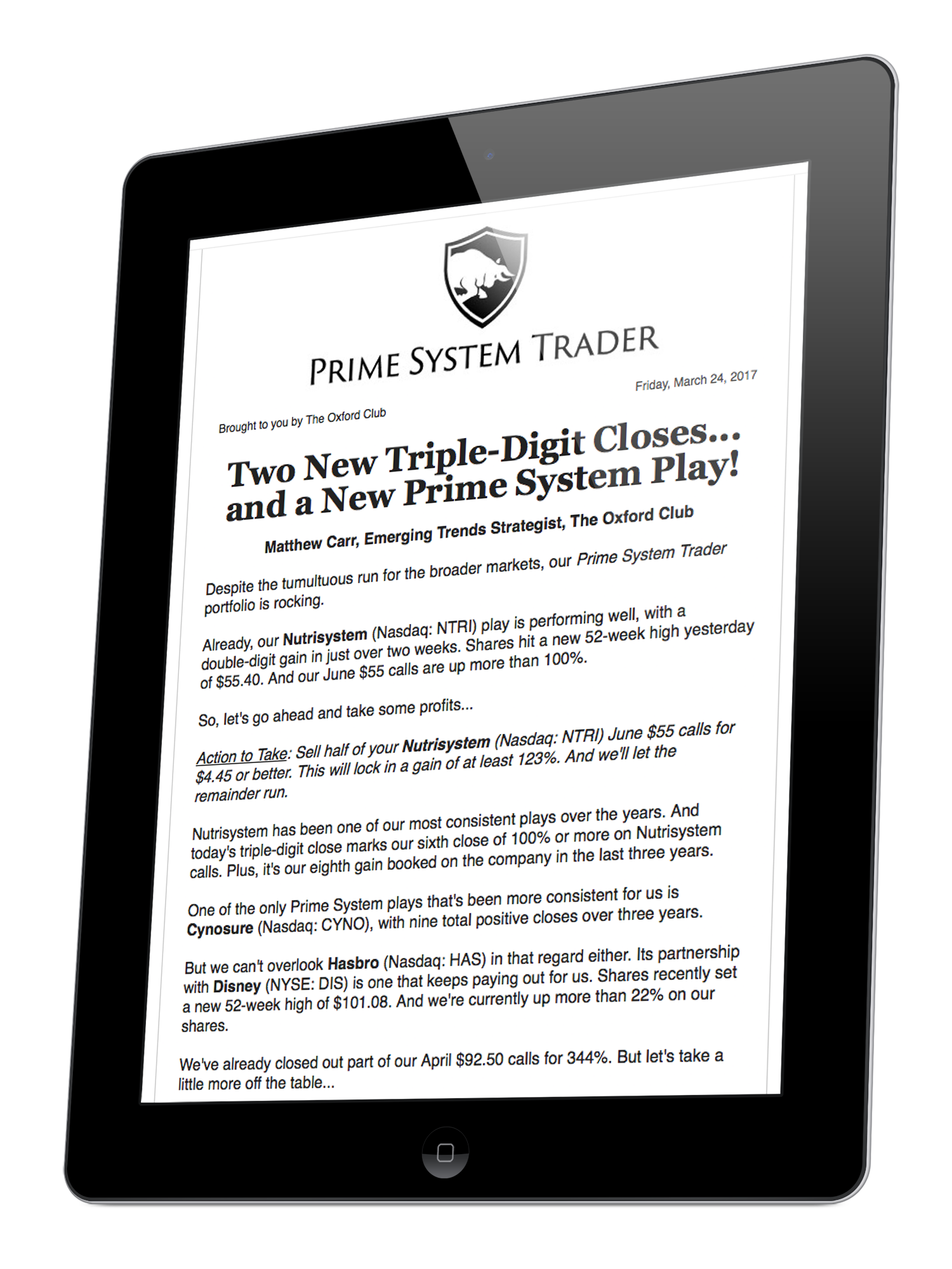 Prime system trader the oxford club subscription benefit 2 weekly status update summary of all positions when buying your positions youll also want a predetermined exit date buycottarizona Choice Image
