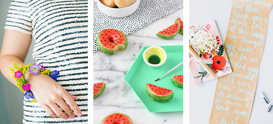DIY floral bracelet, DIY watermelon donuts, and DIY graduation scroll