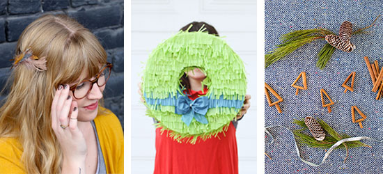 DIYs to Try: Feather Hair Accessory / Fringe Piñata Wreath / Cinnamon Stick Christmas Trees
