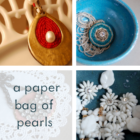 a paper bag of pearls