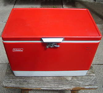 red coleman cooler