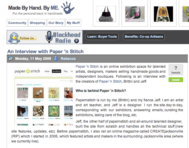 papernstitch interview on by hand