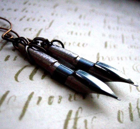 Blue steel pen nib earrings, by overthetop
