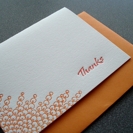 thanks letterpress card by paper dragonfly