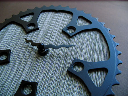 fresh linen recycled bike clock, by 1byliz